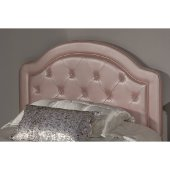 Karley Twin Size Headboard with Headboard Frame Included in Embossed Pink Faux Leather Fabric, 42-7/8'' W x 66-3/4'' D x 47-1/4'' H