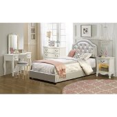 Karley Twin Size Bed Set with Rails Included in Embossed Silver Faux Leather Fabric, 42-7/8'' W x 83-1/4'' D x 47-1/4'' H