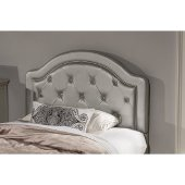 Karley Twin Size Headboard with Headboard Frame Included in Embossed Silver Faux Leather Fabric, 42-7/8'' W x 66-3/4'' D x 47-1/4'' H