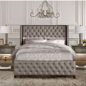 Queen Size Memphis Bed Set with Rails in Diva (Textured Pewter) Faux Leather, 66-1/4'' Wide (Set Includes: Headboard, Footboard and Side Rails)