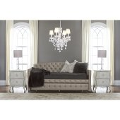 Memphis Daybed with Trundle Unit in Diva (Pewter) Faux Leather Fabric, 43-1/2'' W x 84'' D x 42-1/2'' H