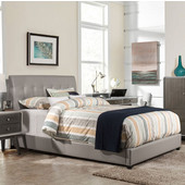 Lusso Collection Full Size Bed Set with Rails Included in Gray Faux Leather, 55-1/2'' W x 81-1/2'' D x 47-1/4'' H
