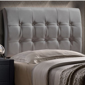 Lusso Collection Full Size Headboard with Headboard Frame Included in Gray Faux Leather, 55-1/2'' W x 66'' D x 47-1/4'' H