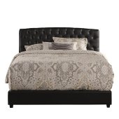 Hawthorne Cal King Size Bed Set with Bed Rails Included in Black PU (Faux Leather) Fabric, 79-1/2'' W x 86'' D x 46-3/4'' H