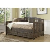 Dana Daybed with Trundle Unit in Brushed Acacia Finish, 44-1/2'' W x 79-1/2'' D x 38'' H