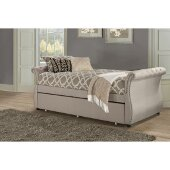 Hunter Backless Daybed with Trundle Unit in Linen Sandstone Fabric, 42-1/2'' W x 93-3/4'' D x 31-7/8'' H