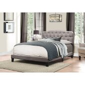 Nicole Full Size Bed in One in Stone Fabric, 57-3/4'' W, Available in Other Bed Sizes