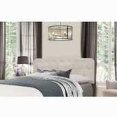 Nicole Collection Full/Queen Size Headboard with Headboard Frame Included in Fog Fabric, 64-1/4'' W x 75'' D x 48'' H