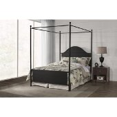 Cumberland Queen Size Canopy Bed with Metal Bed Rails Included in Textured Black Finish, 61-3/4'' W x 91'' D x 84'' H