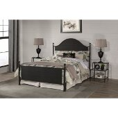Cumberland Queen Size Bed with Metal Bed Rails Included in Textured Black Finish, 61-3/4'' W x 91'' D x 51'' H
