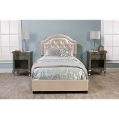 Karley Twin Size Bed Set with Rails Included in Embossed Champagne Faux Leather Fabric, 42-7/8'' W x 83-1/4'' D x 47-1/4'' H