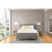Denmark King Size Bed with Side Rails Included in Linen Charcoal Fabric, 81-3/4'' W x 84'' D x 48'' H