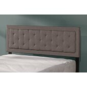 La Croix Full/Queen Headboard with Metal Headboard Frame Included in Stone Fabric, 64'' W, Available in Other Bed Sizes