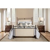 Ashley King Size Metal Bed with Rails Included in Rustic Brown Finish and Linen Stone, 78-1/2'' W x 85-1/2'' D x 57-1/2'' H