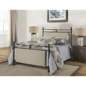 Ashley Queen Size Metal Bed with Rails Included in Rustic Brown Finish and Linen Stone, 62-1/2'' W x 85-1/2'' D x 57-1/2'' H