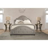 Belize King Size Bed with Rails Included in Light Gray Fabric, 81'' W x 90-3/4'' D x 59'' H