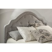 Belize Queen Size Headboard with Headboard Frame Included in Light Gray Fabric, 65'' W x 87-3/8'' D x 59'' H