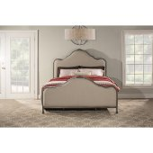 Delray King Size Bed with Rails Included in Aged Steel Finish and Linen Stone Fabric, 79-3/4'' W x 87-1/4'' D x 60-1/2'' H