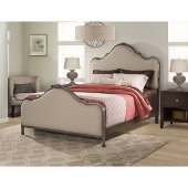Delray Queen Size Bed with Rails Included in Aged Steel Finish and Linen Stone Fabric, 63-3/4'' W x 87-1/4'' D x 60-1/2'' H