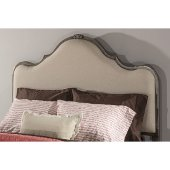 Delray Queen Size Headboard with Headboard Frame Included in Aged Steel Finish and Linen Stone Fabric, 63-3/4'' W x 71-1/4'' D x 60-1/2'' H