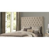 Savannah Queen Size Headboard with Metal Headboard Frame Included in Beige Fabric, 65'' W x 75-3/4'' D x 67-3/8'' H