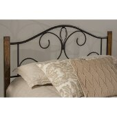 Destin King Size Headboard with Metal Headboard Frame Included in Textured Black and Brushed Oak Finish, 77-5/8'' W x 74-1/8'' D x 47-3/4'' H