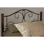 Destin King Size Headboard with Metal Headboard Frame Included in Textured Black and Brushed Cherry Finish, 77-5/8'' W x 74-1/8'' D x 47-3/4'' H