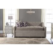 Jaylen Daybed with Trundle Unit in Silver Fabric , 45-1/4'' W x 87-1/8'' D x 38-3/8'' H