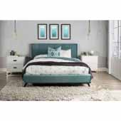 Aussie King Platform Bed, Teal Velvet (Includes: Headboard, Footboard and Side Rails), 83-1/4''W x 81''D x 41-1/2''H