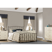 Warwick King Size Metal Bed Set with Headboard, Footboard and Rails in Gray Bronze Finish