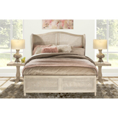 Sausalito King Size Bed Set with Headboard and Rails in Antique White Finish