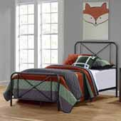 Williamsburg Metal Twin Bed with Decorative Double X Design, Black (Includes Headboard, Footboard and Slat Support System)