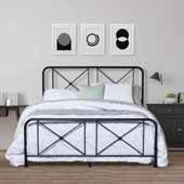 Williamsburg Metal Queen Bed with Decorative Double X Design, Black (Includes Headboard, Footboard and Slat Support System)
