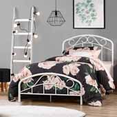 Jolie Metal Twin Bed with Arched Scroll Design, Textured White (Includes Headboard, Footboard and Slat Support System)