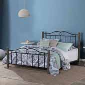 Dumont Full Metal Bed Set with Double Arched Scroll Design with Wood Posts, Textured Black and Brushed Charcoal (Includes Headboard, Footboard, and Slat Support System)