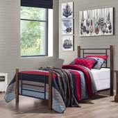 Raymond Twin Metal Bed Set with Horizontal and Vertical with Wood Posts, Textured Black and Weathered Dark Brown (Includes Headboard, Footboard, and Slat Support System)