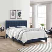 Delaney Full Upholstered Bed, Blue Velvet (Includes Headboard, Footboard and Bed Frame with Slates and Center Leg Support)