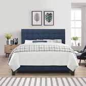 Delaney Queen Upholstered Bed, Blue Velvet (Includes Headboard, Footboard and Bed Frame with Slates and Center Leg Support)