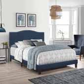 Kiley Full Upholstered Bed, Blue Velvet (Includes Headboard, Footboard and Bed Frame with Slates and Center Leg Support)