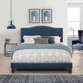 Kiley Queen Upholstered Bed, Blue Velvet (Includes Headboard, Footboard and Bed Frame with Slates and Center Leg Support)