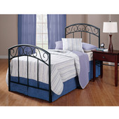 Wendell Collection Twin Bed Set with Rails in Textured Black (Set Includes: Headboard, Footboard and Rails)
