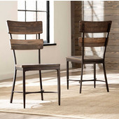 Jennings Collection Dining Side Chair, Set of 2, in Distressed Walnut Finished Wood with Brown Metal, 18-3/4'' W x 19-1/2'' D x 38-1/2'' H