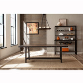 Jennings Collection Rectangle Dining Table in Distressed Walnut Finished Wood with Brown Metal, 40'' W x 84'' D x 29'' H