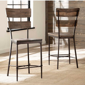 Hillsdale Furniture Jennings Collection Non-Swivel Counter Stool, Set of 2, in Distressed Walnut Finished Wood with Brown Metal , 25 W x 19-1/2 D x 43-1/2 H