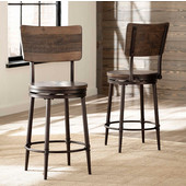Jennings Collection Swivel Bar Stool in Distressed Walnut with Brown Finished Metal, 22-1/2'' W x 22-1/2'' D x 46'' H