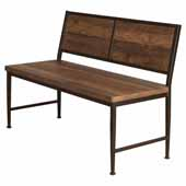 Jennings Dining Height Bench, Distressed Walnut Wood and Brown Metal, 47-3/4''W x 21-1/2''D x 33''H
