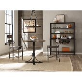 Jennings 3-Piece Counter Height Dining Set with Non-Swivel Counter Height Stools in Distressed Walnut Finished Wood /  Brown Metal Finish and Brown Faux Leather, 36'' W x 36'' D x 43-1/2'' H