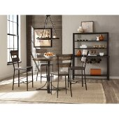 Jennings 5-Piece Counter Height Dining Set with Non-Swivel Counter Height Stools in Distressed Walnut Finished Wood /  Brown Metal Finish and Brown Faux Leather, 36'' W x 36'' D x 43-1/2'' H