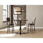 Jennings 3 Piece Counter Height Dining Set with Swivel Counter Height Stools in Distressed Walnut Finished Wood /  Brown Metal Finish and Brown Faux Leather, 36'' W x 36'' D x 43-1/2'' H