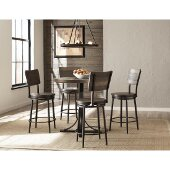 Jennings 5 Piece Counter Height Dining Set with Swivel Counter Height Stools in Distressed Walnut Finished Wood /  Brown Metal Finish and Brown Faux Leather, 36'' W x 36'' D x 42'' H